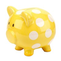 C.R. Gibson Dot Piggy Bank (Yellow)
