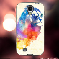 MC42Z,10,Watercolor,Lion,Cool,Hipster,Animal -Accessories case cellphone- Design for Samsung Galaxy S5 - Black case - Material Soft Rubber