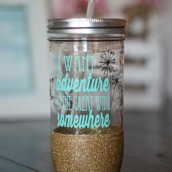 belle disney princess inspired - i want adventure in the great wide somewhere-  glitter dipped mason jar  // glitter dipped mason jar