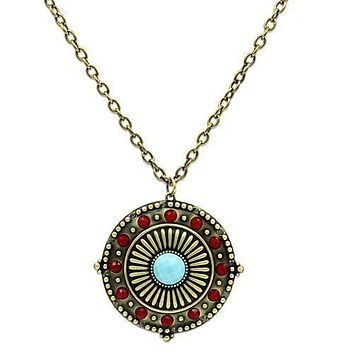 A Vintage Style Blue Turquoise Medallion Pendant Necklace