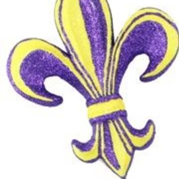 10in Long x 8in Wide Purple/ Yellow Fleur De Lis Pick