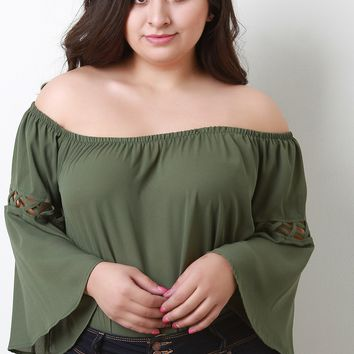 Chiffon Lattice Inset Bell Sleeves Off-The-Shoulder Blouse