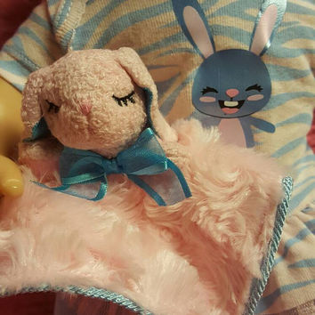 """15 inch baby doll lovey blankie blanket """"Lil Bunny Lovey"""" security blanket bunny pink blu perfect size for Bitty Baby"""
