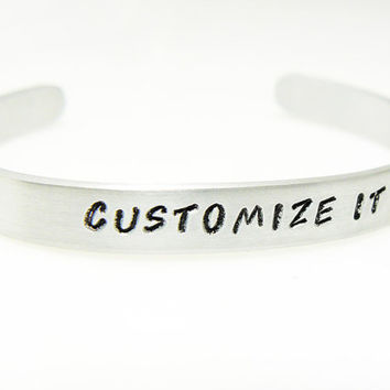 Customized Hand Stamped Bracelet Aluminum Cuff Personalized Gift For Friend