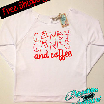 CaNDy CaNeS and CoFFee. Christmas Sweatshirt. Ugly Christmas Sweater. Women's Clothing. Funny Christmas Sweatshirt. XMAS. Free Shipping USA
