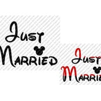 Just Married Minnie Mickey Mouse Font SVG Design Cutting Files for Craft Cutters Like Silhouette Included Files jpg, svg, png, psd