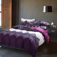 purple blue bedding set 4pcs cotton duvet cover set bed quilt queen size bedspread pillowcase bedclothes bed sheet set bed linen