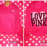 VICTORIA'S SECRET PINK PULLOVER HOODIE SWEATSHIRT HEART HOT PINK SIZE SMALL