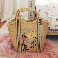 Vintage Floral Woven Tote