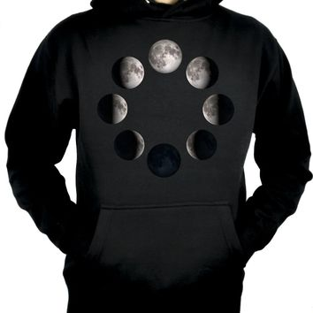 Moon Lunar Phases Pullover Hoodie Sweatshirt New Crescent Full