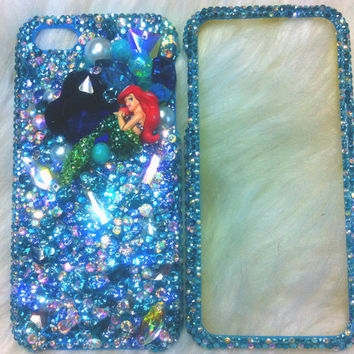 Bling Little mermaid iphone 5 case Ocean Blue diamond w/swarovski crystal
