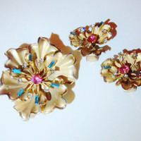 Vintage Brooch and Earring Set Bridal Sash Wedding Jewelry Spring Summer Gift for Her Aqua Pink Rhinestones
