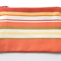 Zipped Pouch in Multicoloured Striped Orange Terracotta fabric - Striped Makeup Pouch - Travel Bag - Cosmetics purse - Zipped Bag organiser