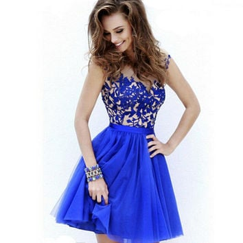Lace Mosaic Shaped Slim Ladies Prom Dress One Piece Dress [6044822465]