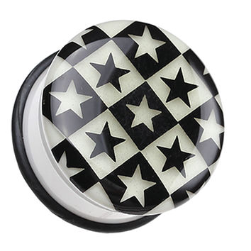 Glow in the Dark Checkered Stars Single Flared Ear Gauge Plug