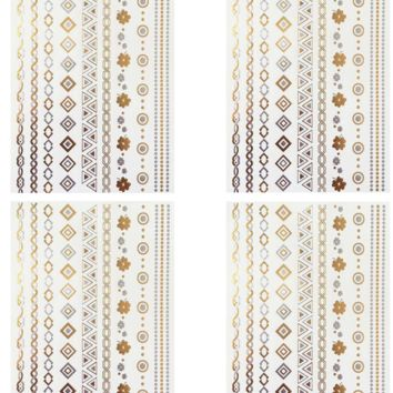 Arm Bracelet Gold/Silver Metallic Temporary Tattoos Party Set