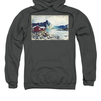 Scandinavian Fyord And A Red Cottage By Adam Asar - Sweatshirt