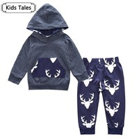 Baby Boys Girls Clothes Set Suits Warm Deer Tops Hoodie T-shirt + Leggings Pants Cute Animals Kids Children's Clothing SY194