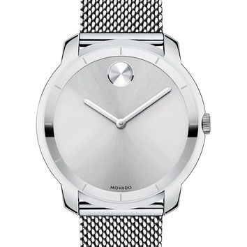 Men's 44mm Bold Watch with Mesh Bracelet, Silver - Movado Bold - Silver (4mm)
