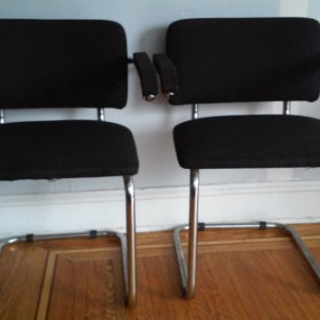 BEST OFFER SALE! Vintage 60s or 70s Marcel Breuer/Cesca Style Chrome Casual or Dining Room Chairs (Two Chairs)..