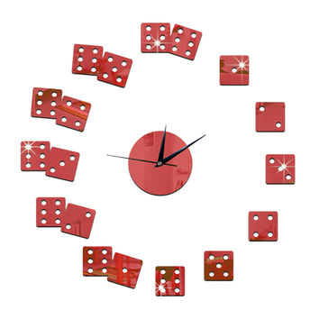 Living Room Wall Clock Mirror DIY Creative Dice   red