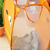 SAN-X Rilakkuma Bear Travel TOTE BAG Clothes Rack Holder & Home Room Storage Rack Box Nylon Mesh Net Container Cloth Case Basket