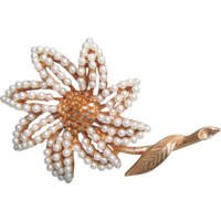 1960's Vintage Mod Signed CORO Seed Pearl Gold Tone Daisy Flower Pin