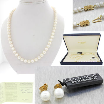 """New Mikimoto Sea Magic 14k Yellow Gold 6.5-7.5mm Pearl Earrings 18.25"""" Necklace"""
