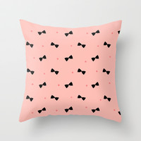 Bows and Dots (Pink) Throw Pillow by Jacqueline Maldonado