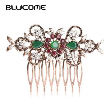 Blucome Retro Turkish Bridal Wedding Hair Accessories Red Crystal Flower Hair Combs Hairpins Head Jewelry For Women Girls Tiara