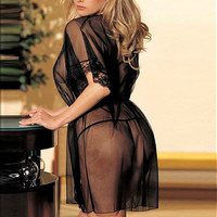 Women Sexy Lace Half Sleeve Lingerie Night Sleepwear Open Front Black Free size (Size: M, Color: Black) = 1705713028