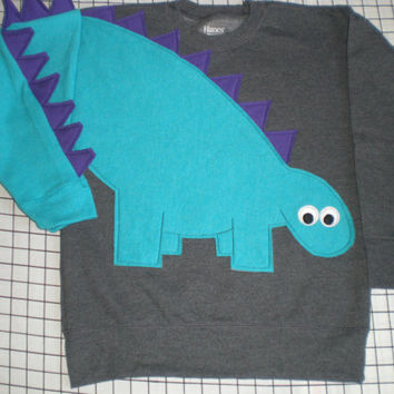Dinosaur sweatshirt Dinosaur sweater dinosaur shirt jumper spikey tail CUSTOM to your COLORS Children sizes