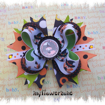Halloween Hair Bows - Layered Halloween Boutique Hair bows - Halloween Stacked Hair Bows - Pigtails Hair Bows - Bottle Caps Hair Bows