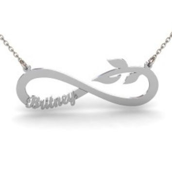 Sterling Silver Branch Name Infinity Necklace