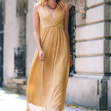 Champagne Tasting Maxi Dress In Gold