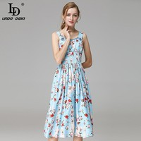 High Quality New Fashion Runway Summer Dress Women's elegants Spaghetti Strap Beading lovely Dog Floral Print Casual Dresses