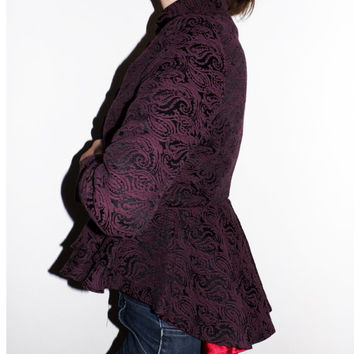 women slim fit red wine blazer, red jacket, steampunk clothing, tailored blazer, tailored suit