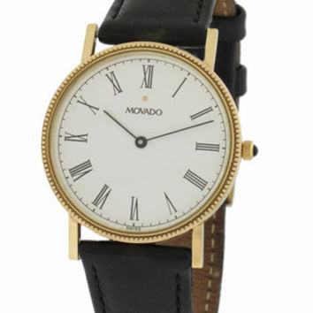 Pre-Owned Movado Mens 14k Gold Dress Watch - White Dial - Coin Edge Bezel