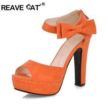 REAVE CAT New summer Peep toe Ankle strap orange Sweet high heel Sandals Platform Lady shoes Bowtie 4 Colors Spike heels