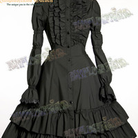 Elegant Gothic Lolita Long Sleeves Stand Collar Dress*3color Instant Shipping