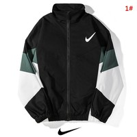 NIKE New fashion hook print contrast color long sleeve coat jacket 1#