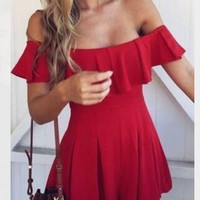 Fashion Women' Off Shoulder Solid Color Frills Dress