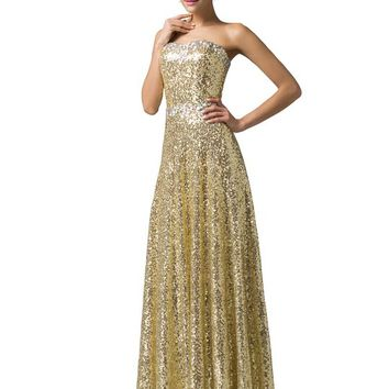 Elegent Sequined 2016 Strapless Prom Dresses (10)