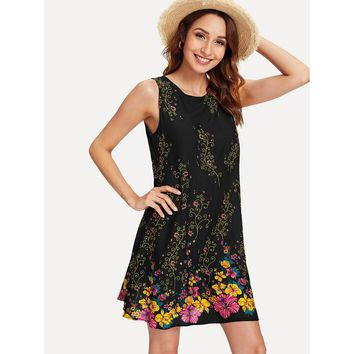 Black Round Neck A Line Floral Print Sleeveless Dress