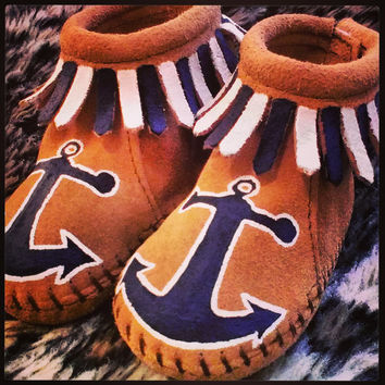 Custom Anchor Nautical Navy Baby Moccasins