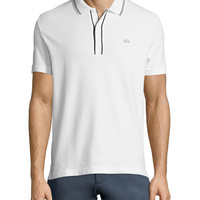 Fancy Short-Sleeve Pique Polo, White, Size: