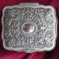 Midcentury Silver-Tone Jewelry Box / 60s Pewter Jewelry Storage Case / Jewelry Casket 3D Etched Design Metal
