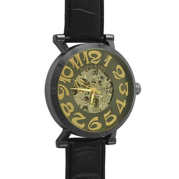 Skeleton Watch Black Leather Band