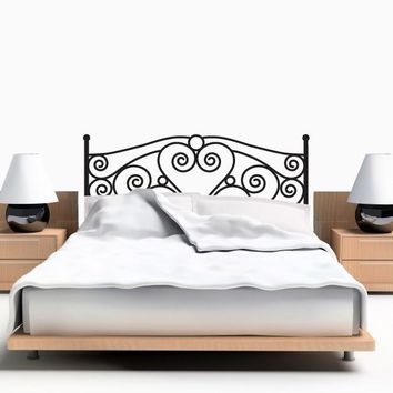 Headboard Wall Decal - Scroll Headboard Wall Sticker - Twin Size