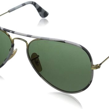 Authentic RAY-BAN Aviator Gold/Grey Camo Sunglasses RB3025JM - 171 *NEW* 55mm